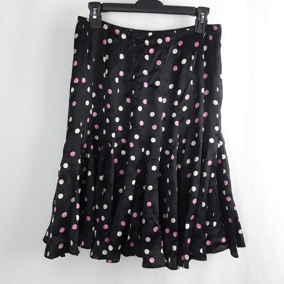 ECI Dresses & Skirts - 100% Silk Pretty Pink & Black Polka Dot Skirt